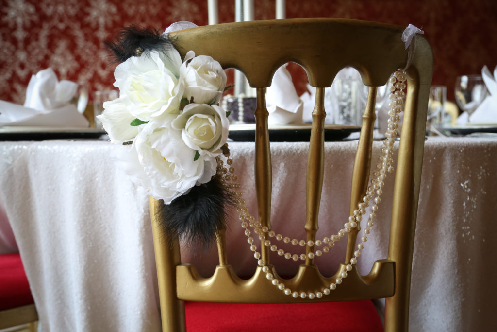 30s era venue styling -chair adornments