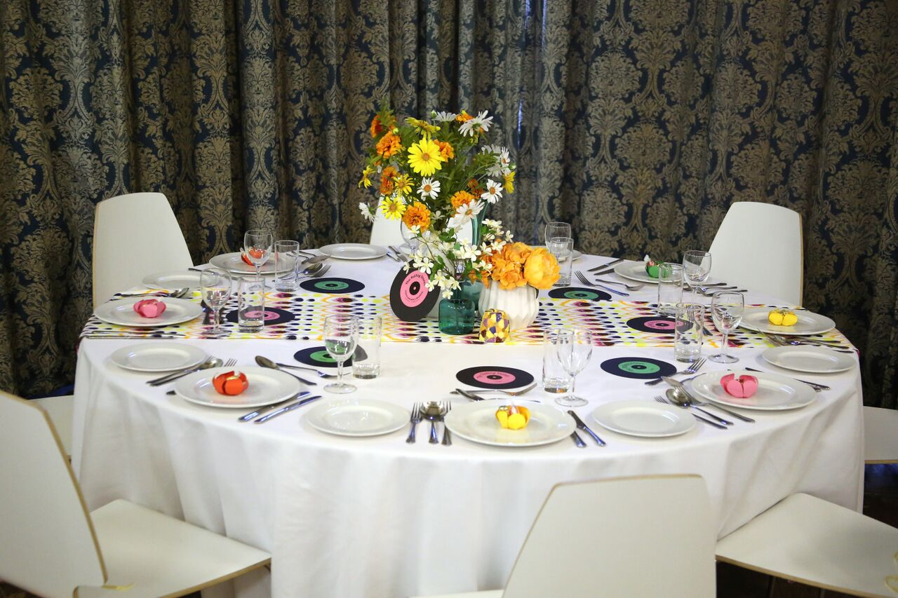 60s themed wedding table setting