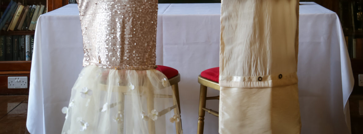 bespoke bride and groom chair covers