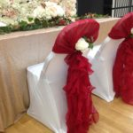 Water fall design chair cap and sash