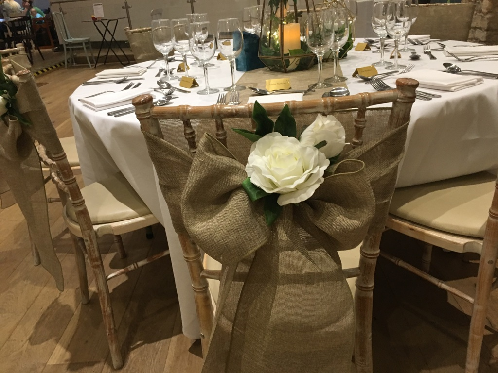 Hessian look linen sash from Fabulous Functions UK