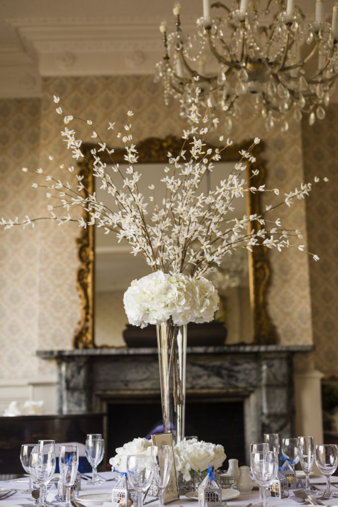 Tapered Glass Vase with Hydrangea and Forsythia. The perfect centrepiece for a 20's inspired venue decor