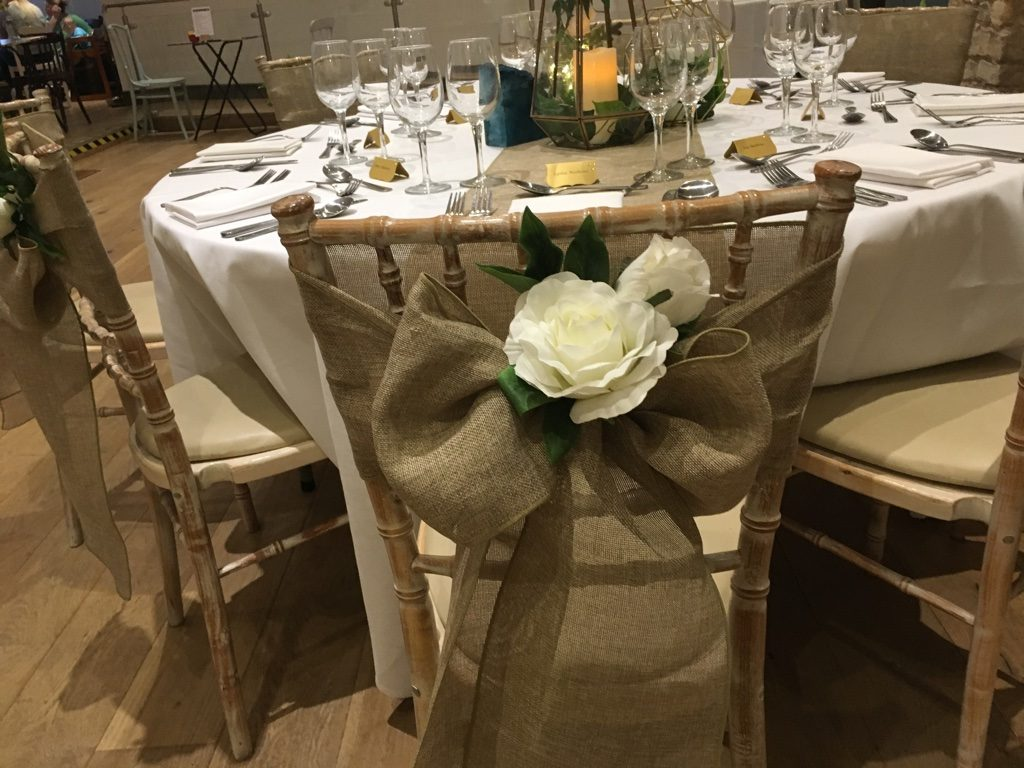 Hessian look linen sashes | Accessory Hire | Fabulous Functions UK | Swindon