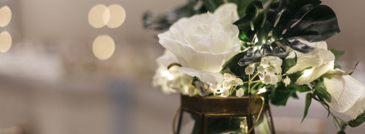 venue accessory hire - Terrarium centrepiece embellished with roses and greenery Accessory Hire | Fabulous Functions UK | Swindon