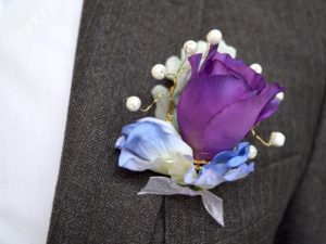 Buttonhole featuring Pantone Purple 2018