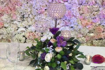 Floral centrepiece with crystal globe-FabulousFunctionsUK