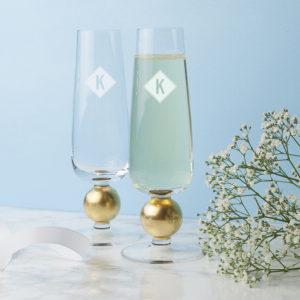 Monogramed Champagne Flutes