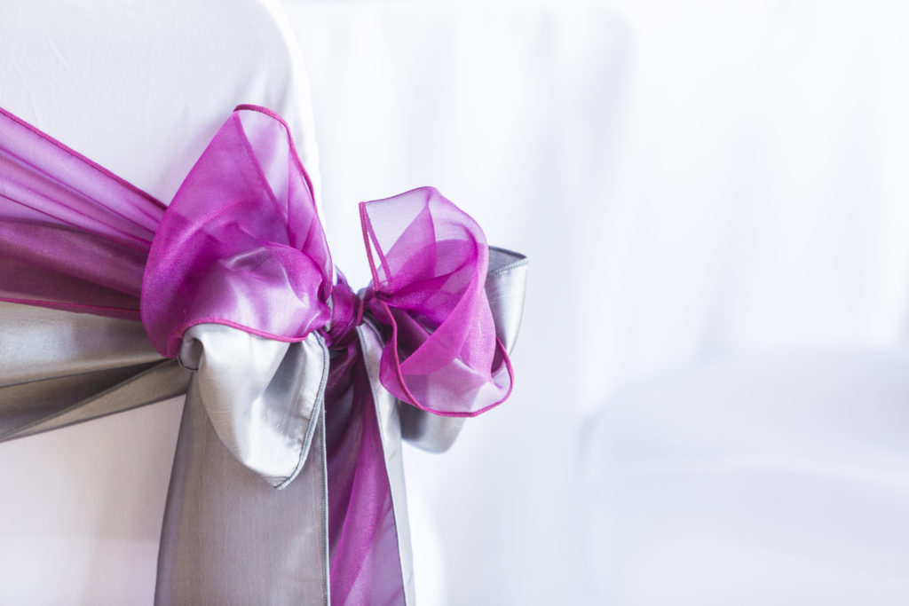 A gorgeously dreamy combination of textures. platinum taffeta and sparkling organza in complimentary but contrasting colours make for a wow venue decor