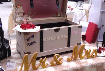 Treasure chest Post box for guest well wishing cards available for hire from Fabulous Functions Uk