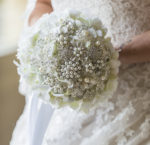 A gorgeous brooch bouquet with silver toned brooches- Fabulous Functions UK