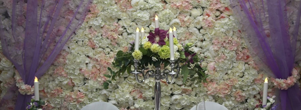 Candelabra and silver toned candle sticks