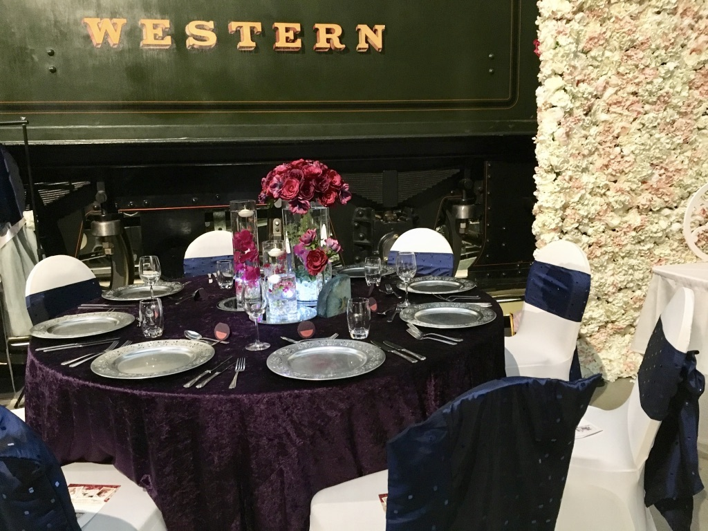 Purple crushed velvet table cloth