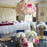 Hour Glass Vase with floral arrangement Centrepiece