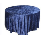Blue crushed velvet table cloth