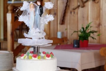 wedding cake near a walkway