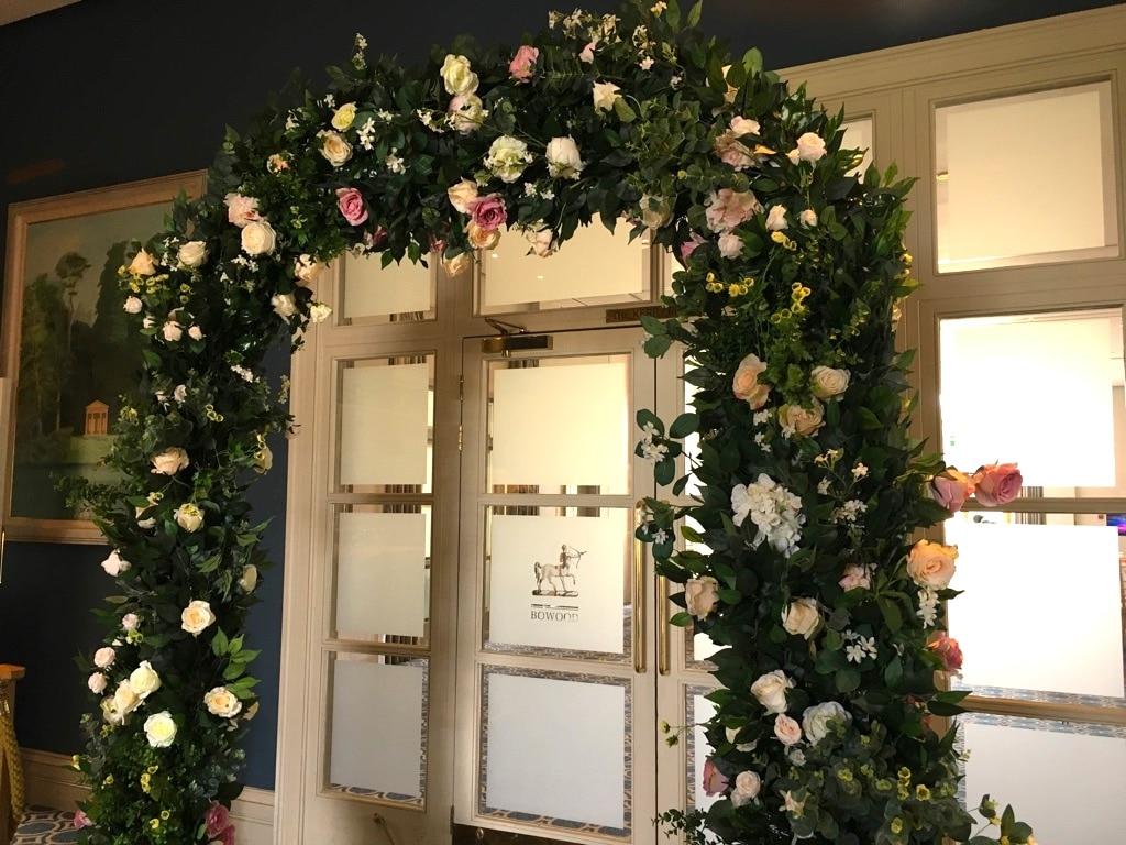 Floral Arch frames the entrance to your ceremony suite- Accessory hire from Wiltshire based venue stylist Fabulous Functions UK