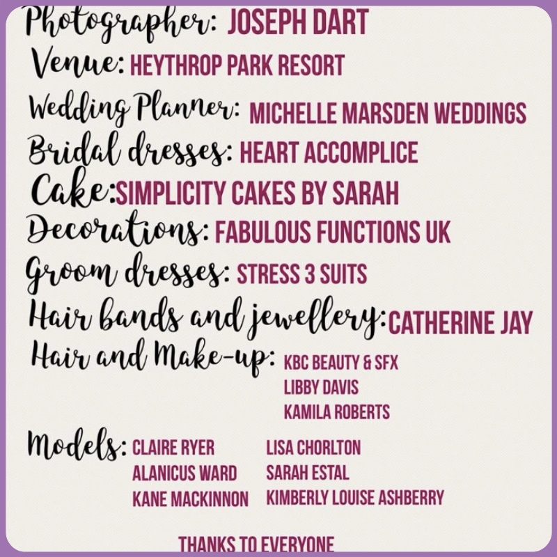 Suppliers for the photoshoot