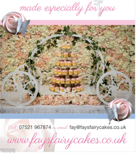Fays Cupcakes with flower wall from Fabulous Functions UK