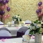 Flower wall backdrop-mercury vase and floral display
