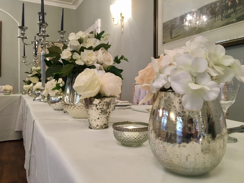 choosing bridal and venue accessories -Mercury vases and tea light holders