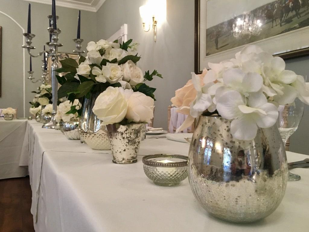 choosing bridal and venue accessories -Mercury vases and tea light holders