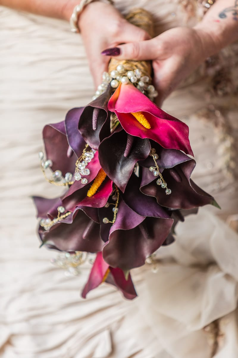 Silk bouquet created with Cala lilys and crystals - Fabulous Functions UK