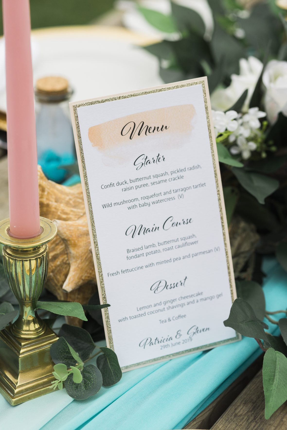 Beach Themed Menu cards