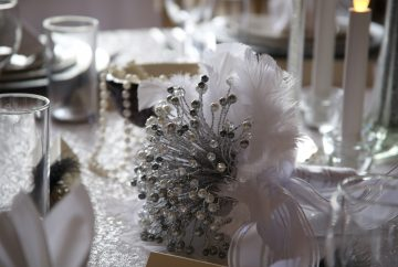 Bouquet created with crystals and pearls with a feather collar