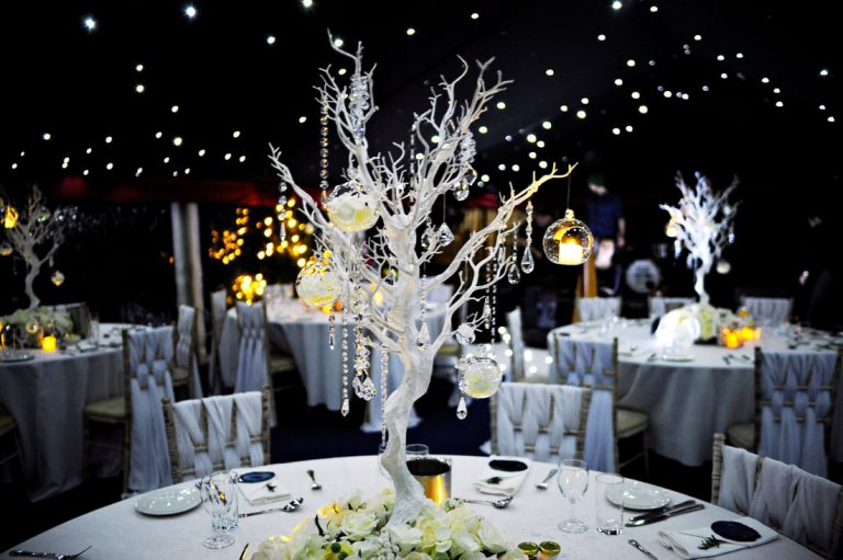 A beautiful winter themed table decor for this winter wonderland wedding themed decor.  Decor styling created by Fabulous Functions UK