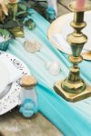 Sea Green Table Runner for Beach themed wedding setting -Fabulous Functions UK
