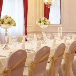 Side tied gold organza sashes