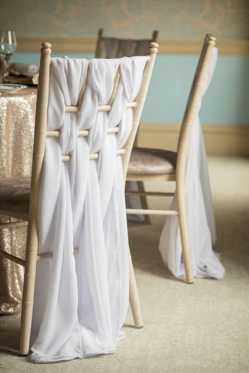 Weaved chiffon chair decor on Chiavari chairs -Fabulous Functions UK
