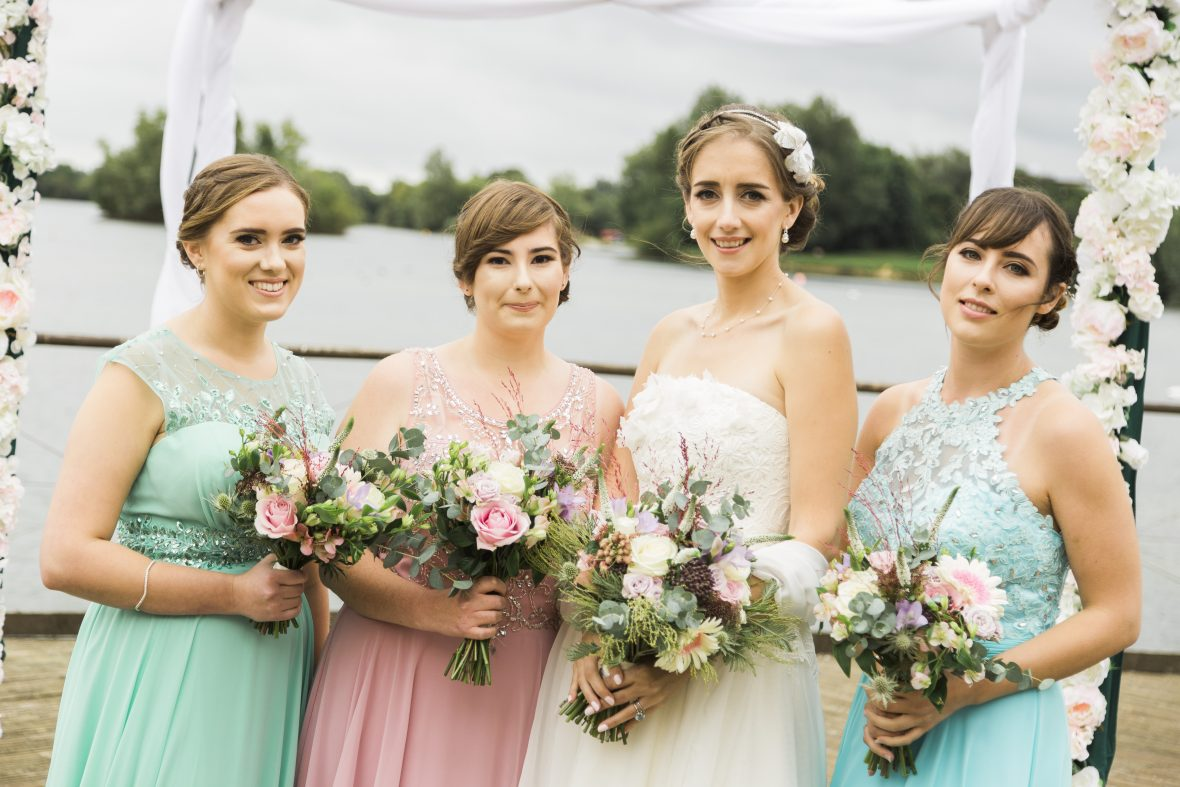Bride and her maids all ready for the Beach themed wedding inspiration