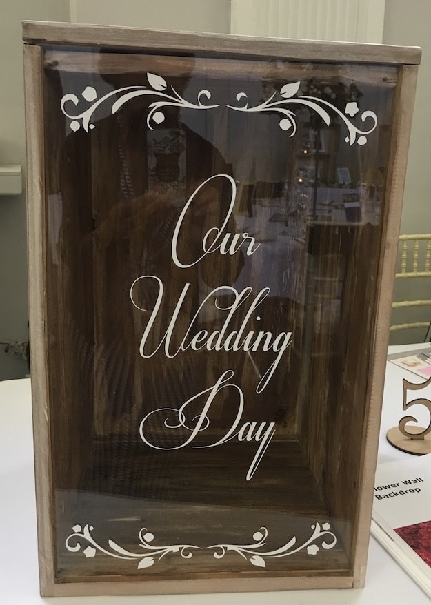 Personalised decorative front panel wooden post box for your weddings and celebrations