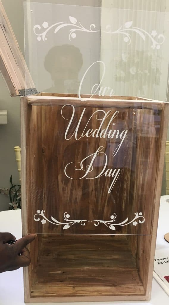 Remove the front panel of this wedding card post box and keep it as a lovely memento of your special day.
