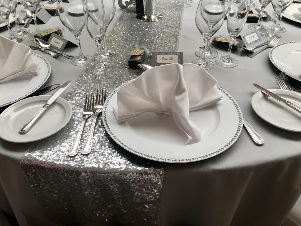 A Silver and Grey Wedding Theme - close-up of table setting