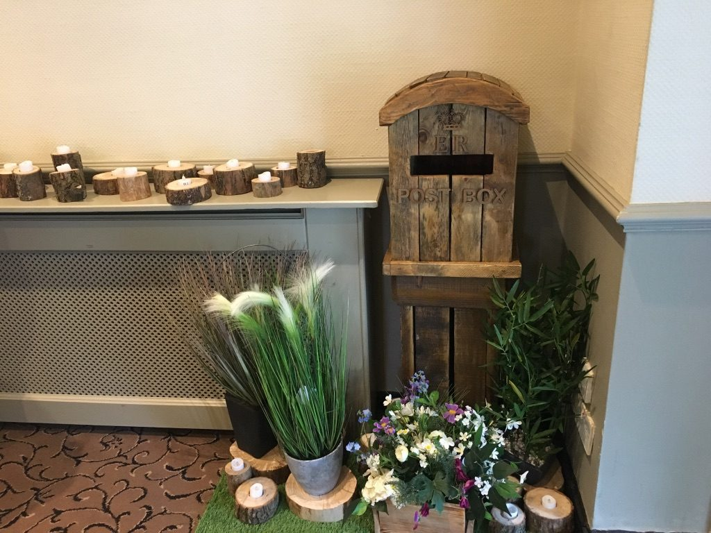 Rustic themed floor standing post box available to hire from Fabulous Functions UK