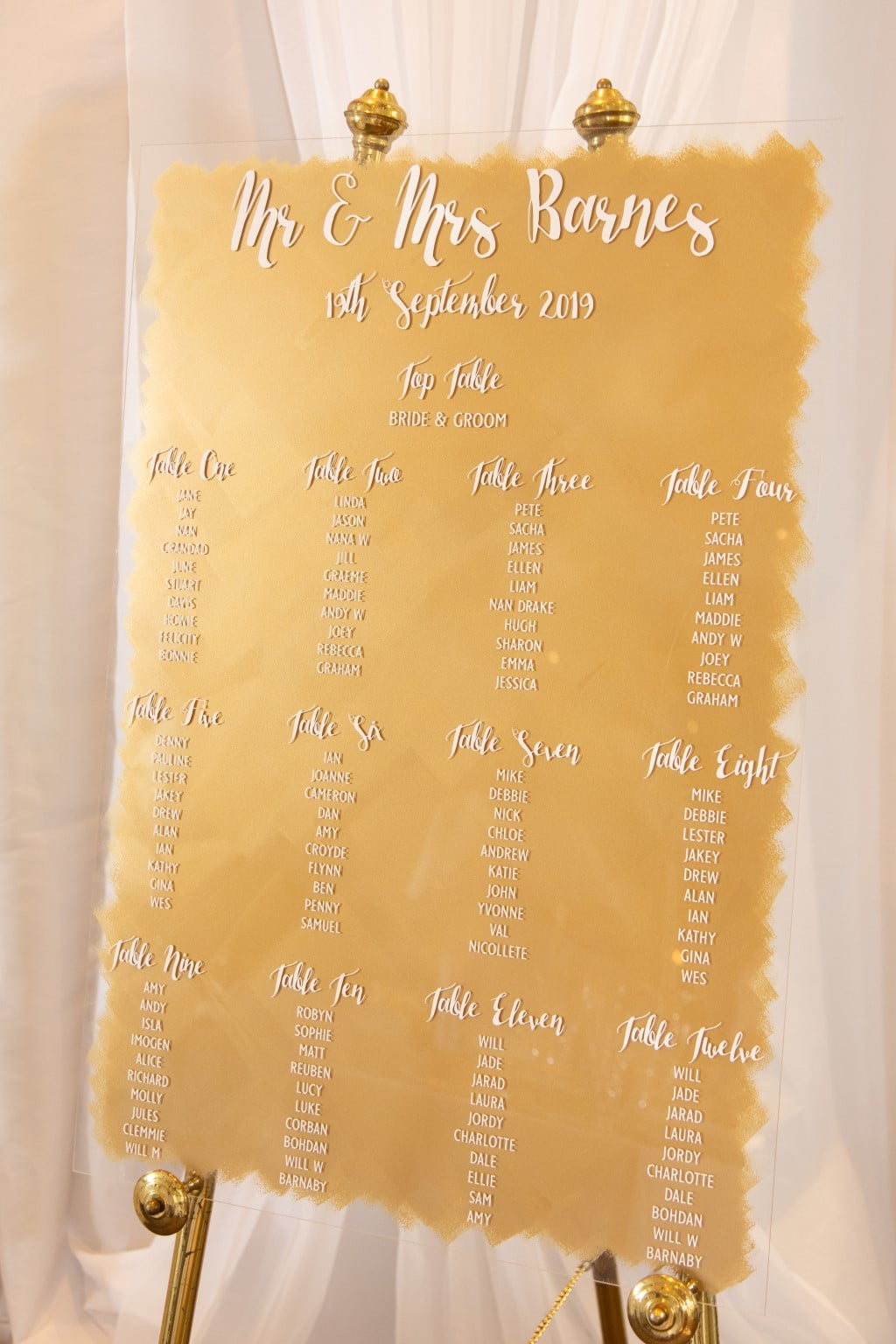 Acrylic guest seating plan featuring white font on a gold painted background.