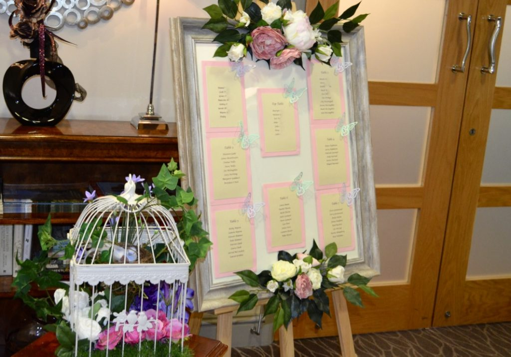 Rustic themed table plan in large frame with floral decor-Fabulous Functions