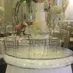 Floating Cake Stand at the Decorium-Cream gold and green themed cake-Fabulous Functions UK
