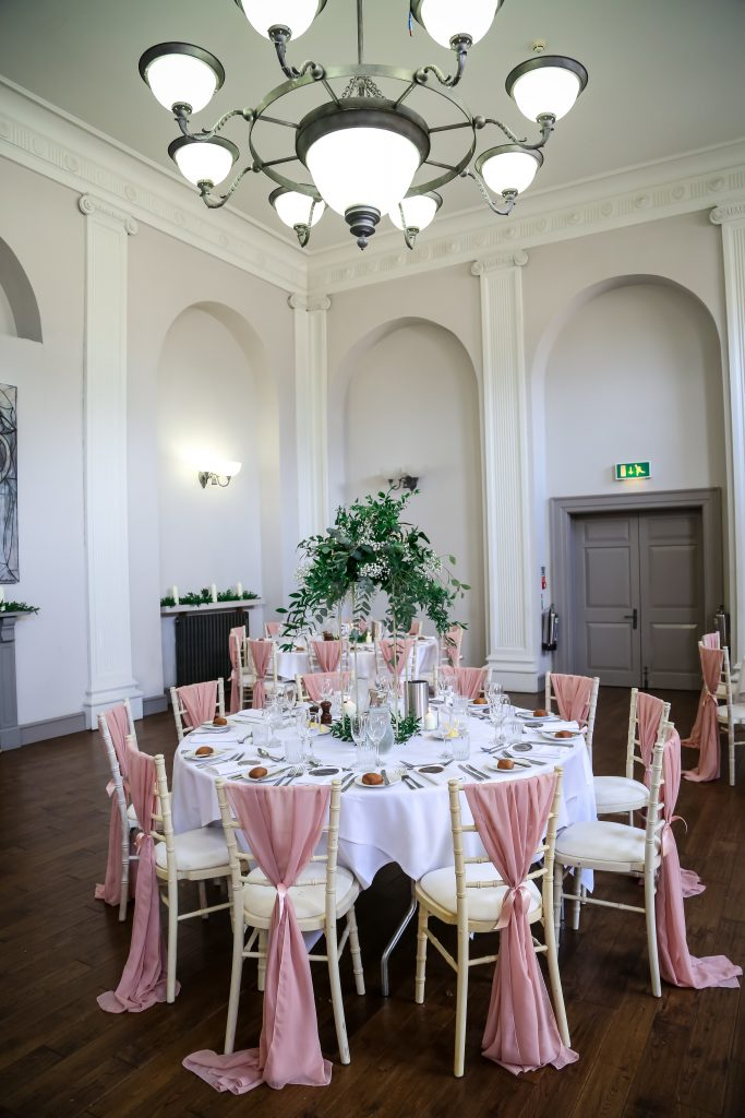 Rose gold and greenery was the perfect marriage for this venue decoration Fabulous Functions UK