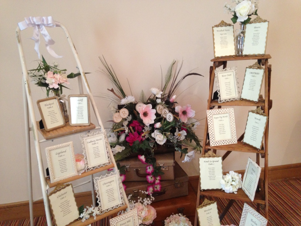 Table plan setup created with vintage weekend ladders-Fabulous Functions UK