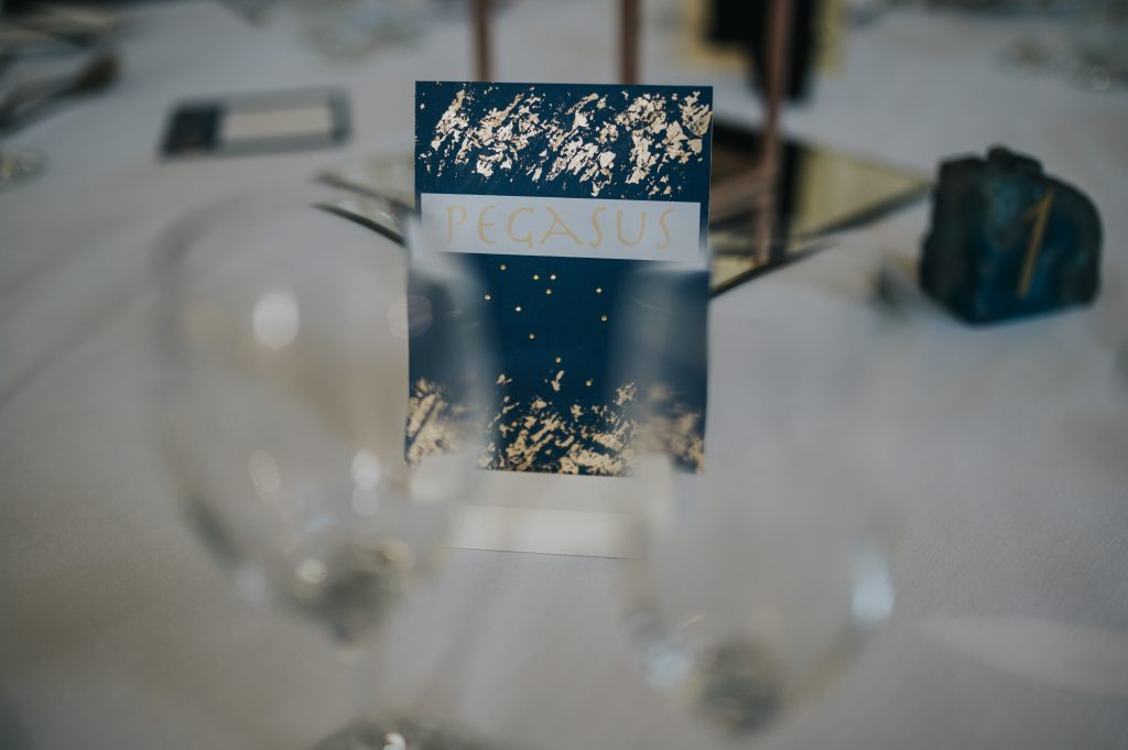 Add classic blue tones to your stationery then a complementary colour- here gold foil has been added to create a relief effect to these table numbers. Thank you Mat Fox Photography for this fab photo. Putting Pantone into Your Wedding Décor