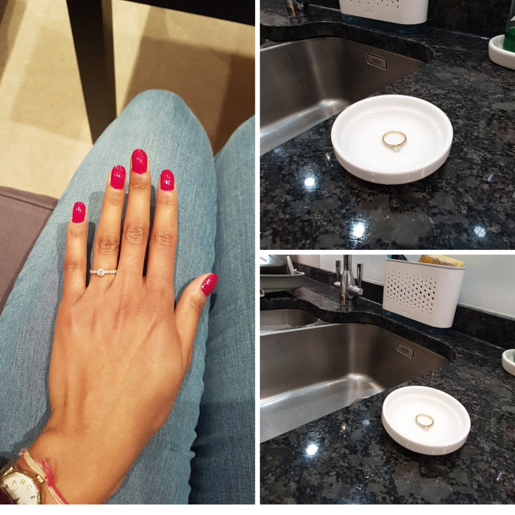Advice for caring for your engagement ring -  Don't take it off in public places as you risk losing or forgetting it. Read the blog from Fabulous Functions UK