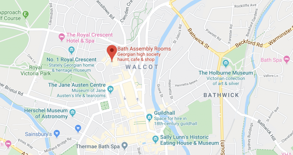 Bath wedding expo - map to Bath Assembly rooms
