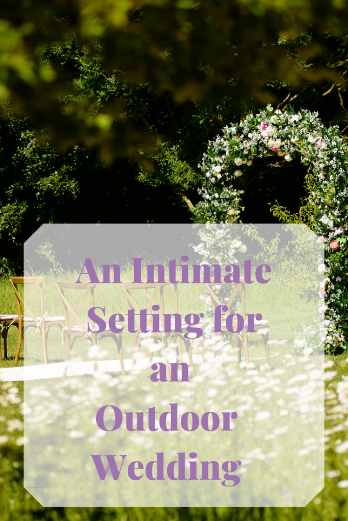 An intimate setting for an outdoor wedding ceremony- encouraging couples to still feel the   excitement and joy of planning their wedding. Setting created by Faulous Functions UK