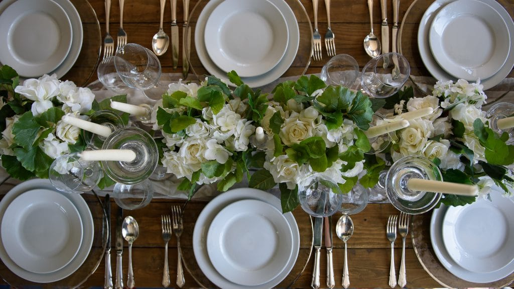 close up of place setting on a rustic table