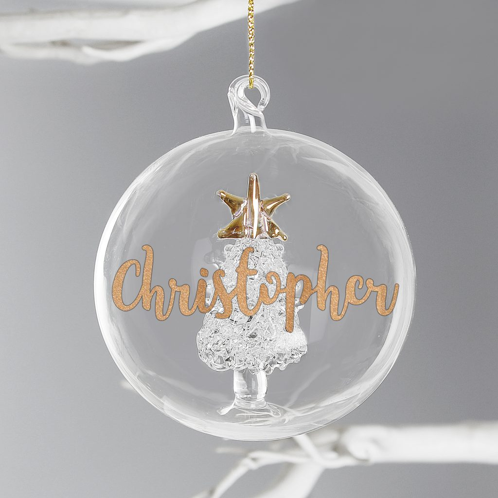 Personalised Christmas tree glass bauble with star and gold lettering