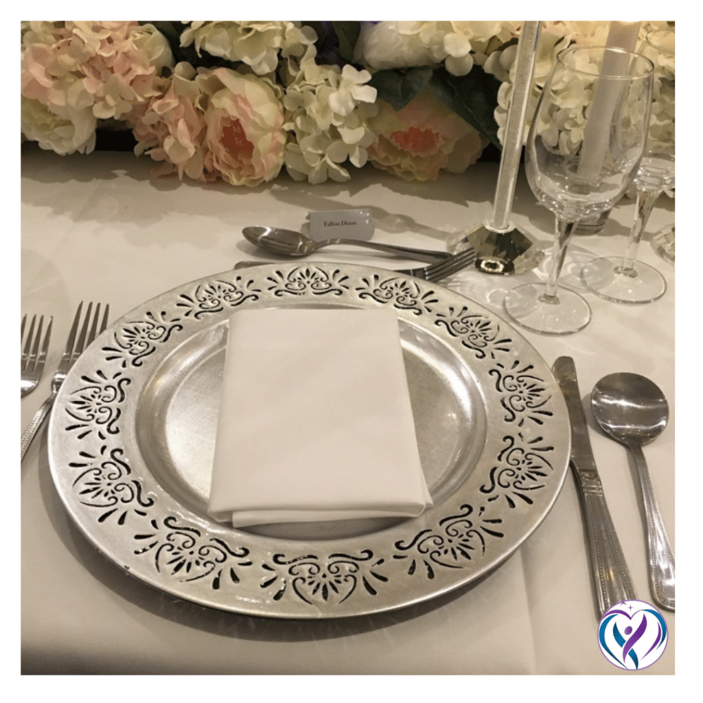 Silver floral edge charger plate - Fabulous Functions UK