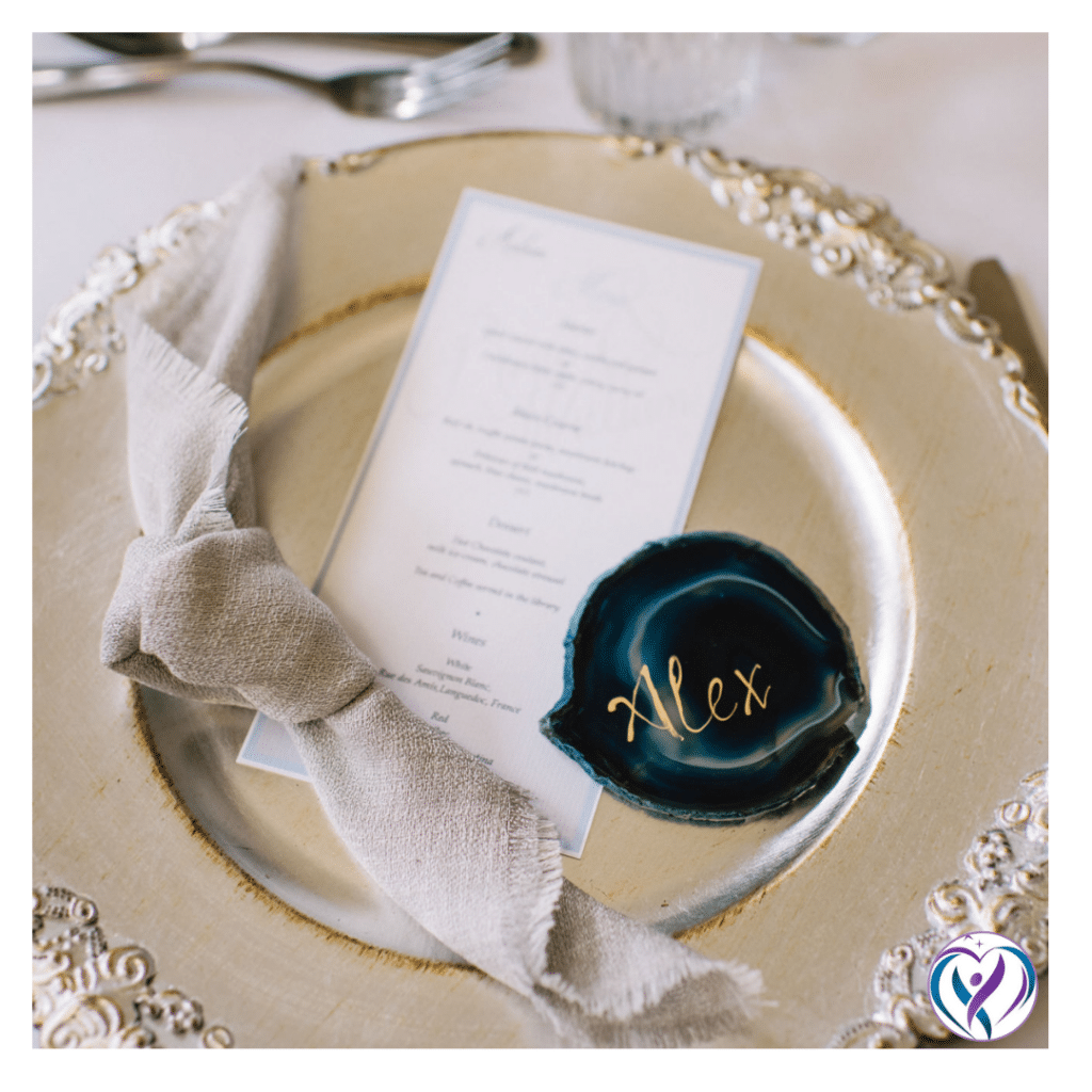 Vintage style charger plate with a scroll design on the edges. Styling by Wedding designer Fabulous Functions UK